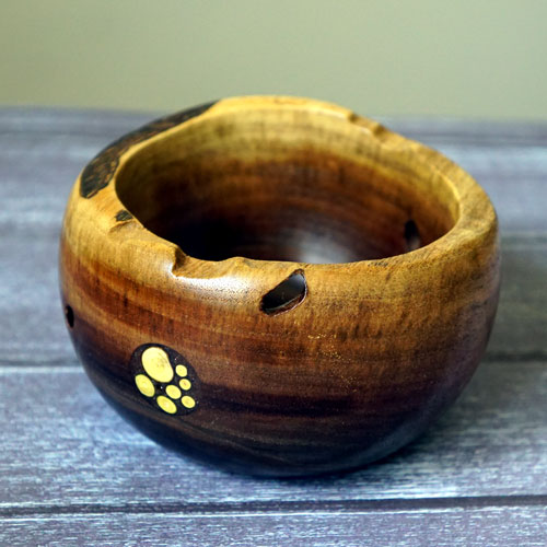 Natural Edged Walnut Bowl with Inlay